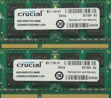 Crucial ram 8GB kit DDR3 PC3-10600, 1333MHz for latest 2011 Apple Macbook Pro's