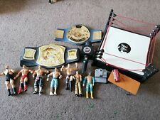 WWE Figures, Belts, Talking microphone, Wrestling Ring And Accessories Bundle