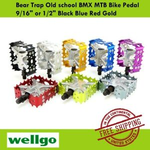 "Wellgo Bear Trap Old school BMX MTB Bike Pedal 9/16"" or 1/2"" Black Blue Red Gold"