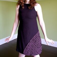 Minuetto Canada Plum Wool Blend Retro Twiggie Style Dress Ruffle Applique XXS