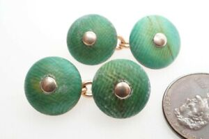 ANTIQUE ENGLISH 9K GOLD & NATURAL STAINED GREEN CUFFLINKS by CHILD & CHILD c1900
