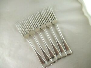 Solid Silver  Set of 6 TABLE FORKS - OLD ENGLISH PATTERN  H`mark:-SHEFFIELD 1934