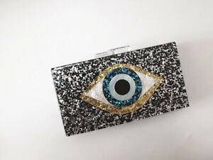 Evil Eye BLACK Evening Wedding Party Clutch Bag  Shoulder BN