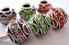 European Charm Bead with Rhinestones for Bracelet Red, Green, Purple B302
