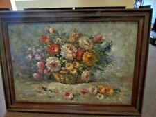 "Rossini Oil Canvas Floral Flowers Artist Signed 42 x 30"" Original Fr (NJL015882)"