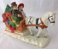 Vintage Brinns Christmas Horse Drawn Sleigh Musical Figurine Plays Jingle Bells