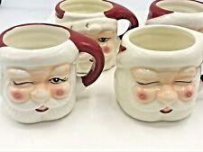 Pottery Barn S/4 ~FIGURAL SANTA~ Ceramic COFFEE & COCOA MUGS ~CHRISTMAS~