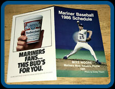 1986 SEATTLE MARINERS BUDWEISER BASEBALL POCKET SCHEDULE MIKE MOORE ON COVER