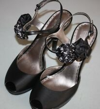 """Coach"" Platform Heels~Peep Toe~Ankle Strap~Black~Satin/Leather~10M"