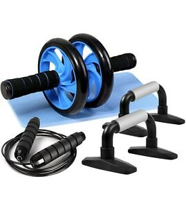 4In1 Ab Workout Wheel Roller Kit Set Portable Equipment Push Up Bar Home Gym