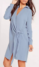 Missguided Crepe Wrap Shirt Dress Powder Blue Size 8 Tie Up NWT Sold Out