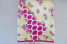 Baby blanket, handmade, double thickness flannel-  Pink flowers on lemon flannel