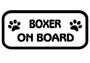 Boxer On Board Car, Van sticker, decal paw print