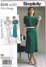 Vtg 30s Retro Dress Puffed Sleeve Pleat Gathered Yoke Sewing Pattern 4 6 8 10 12
