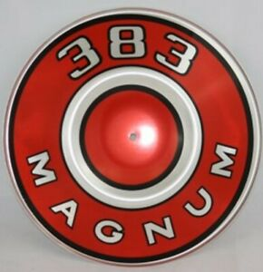New Mopar Red 383 Magnum Air Cleaner Pie Tin