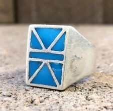 VINTAGE OLD ZUNI STERLING SILVER SLEEPING BEAUTY TURQUOISE FLUSH INLAY RING