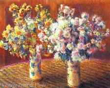 Two Vases with Chrysanthemums by Claude Monet Art Flowers Table 8x10 Print 1010