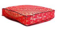 Indien Ombre Mandala Imprimé Carré Pouf Ottomane Lit de Jour Coussin Rouge Pouf