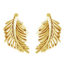 Stud Earrings With Push Back 18K Yellow Gold Over Leaf