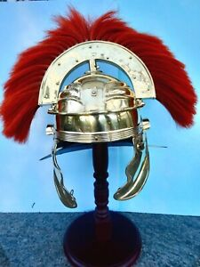 Replica ancient roman centurions helmet brass w/ red dyed plume w/wooden stand