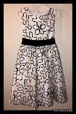 Rare Editions Holiday Dress Girl Sleeveless Full Christmas White Black Bow Sz 6