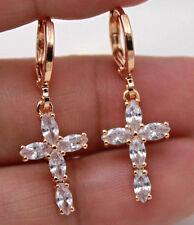 18K Gold Filled - Chic Cross Cat Eyes Topaz Zircon Party Hoop Earrings Jewelry