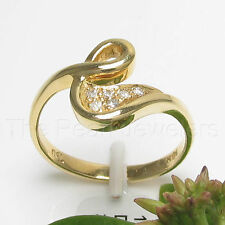18k Yellow Solid Gold Genuine Diamonds Cocktail Ring TPJ
