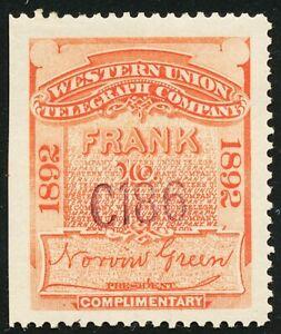 DR JIM STAMPS US SCOTT 16T22 WESTERN UNION FRANK 1892 UNUSED OG HINGED