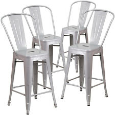 "Set of (4pc) Modern Counter Height Style Stools w/ Back 24""-inch Seat Bar Silver"