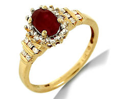 Women's Halo Ruby & Diamond Engagement Ring in 14k SOLID Yellow Gold
