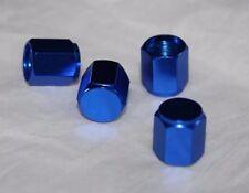 Anodized Aluminum Alloy Valve Stem Cap 4 pack Set Blue Hex Dress Up Kit NEW