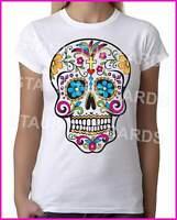 Mexican Sugar Skull White - Womens White T-Shirt - Geek Retro Fun Kitsch Cute