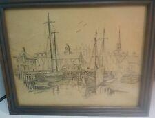 Jay Killian's signed, Pencil... Drawing of Boats Docked at Harbor