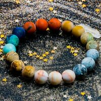 Planet Solar System Natural Stone Bead Bracelet Women Men Chakra Yoga Bracelet