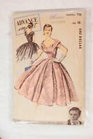 Advance Import 110 Gown 1950s Dress VIntage Sewing Pattern Norman Hartnell