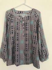 💜 VICTORIA HILL Women's 100% SILK purple Grey Check Geometric Blouse Shirt 14 L