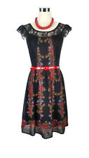 REVIEW Dress - 1950s Vintage Retro Style Black Red Green Roses Lace Floral - 6