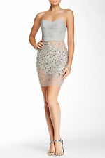 NWT TERANI COUTURE Mesh Panel Embellished Dress Silver Sexy Jewels [SZ 8] #N117