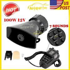 100W 7 Sound Loud Car Warning Alarm Police Fire Siren Horn PA Speaker MIC System