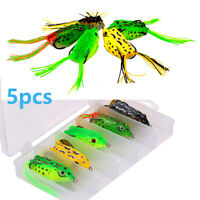 Frog Topwater Soft Fishing Lure Crankbait 5pcs/set 2.5in 0.4oz Bass Fishing Bait