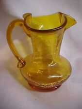 Vintage Crackle Glass Topaz Short Pitcher Vase
