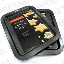 2 x LARGE BLACK Non Stick COOKIE/BISCUIT BAKING TRAY Oven Cooking Tin Sheet NEW