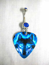 BLUE FIRE WOLF PACK ANIMAL PRINTED GUITAR PICK ON 14g COBALT BLUE CZ BELLY RING