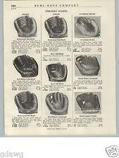 1940- 50's PAPER AD Wilson Baseball Glove 3 Finger Ball Hawk Ted Williams Reiser