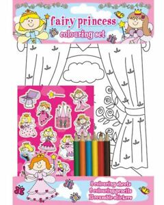 Fairy Princess Colouring Set Childrens Activity Stickers Stocking Filler Gift