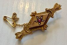 Beautiful Antique Edwardian 9 Carat Gold Ruby and Pearl Brooch Pretty 9CT