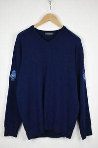 Lyle & Scott Stavanger Golf Herren M 100%Wolle Blau Pullover Sweatshirt 34999_ G