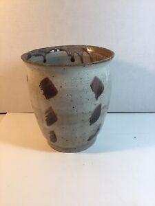Antique/Vintage Gray-Brown Stoneware Crock Jar Rose/Purple Colors No Markings