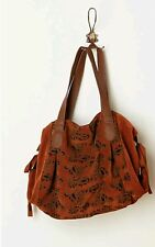 Anthropologie Paisley Cutout Satchel Tote Shoulder Bag Slouchy Suede