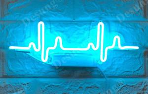 New ECG Electrocardiogram Wave Heartbeat Neon Sign Light Lamp Wall Hanging Bar